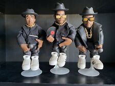 Run DMC Jam Master Jay Mezco Action Figures Black Outfit Loose w/Stands