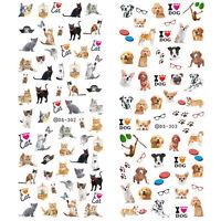 Nail Art Water Transfer Sticker Manicure Decal Cute Dog Cat Pattern DIY Tattoo