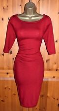 GORGEOUS PHASE EIGHT DEEP RED STRETCH MERINO WOOL DRESS UK 14 CHRISTMAS OCCASION
