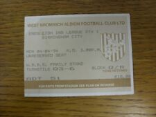 04/04/1994 Ticket: West Bromwich Albion v Birmingham City  (folded in corner). T