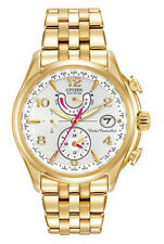 New Ladies Citizen Eco-Drive A-T Atomic Gold Tone Chronograph Watch FC0002-53A