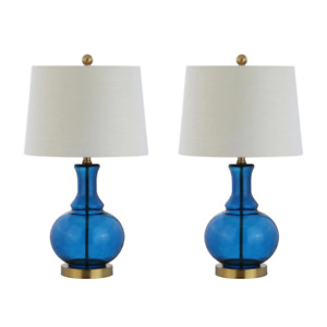 Jonathan Y JYL1068C Lavelle 25 in. Cobalt Blue/Brass Gold Glass Table Lamp 2-pk.
