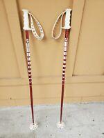 Vintage A&T SKI 124 cm Ski Poles Red And White
