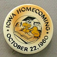 "1960 IOWA HOMECOMING  football 2"" pinback button ^"
