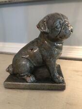 Rare Distressed Coated Metal Pug Dog Figurine Blue/Green Decorative