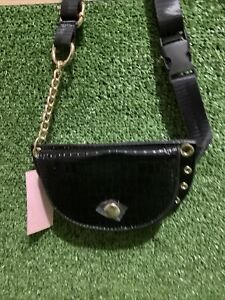 Ladies Black Mock Croc Half Moon Belt Bag Purse - BNWT - Fast Dispatch