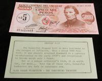 1970s URUGUAY Pick 57 5000 peso Banknote, World Paper Money UNC Crisp cond.