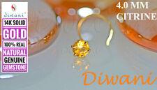 Ring Stud Pin Piercing 14k Gold 4.0mm Natural Citrine Engagement Wedding Nose