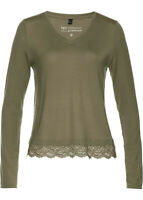Khaki, Army Green Lace Trimmed Sustainable V Neck Lyocell Tunic size S 10-12