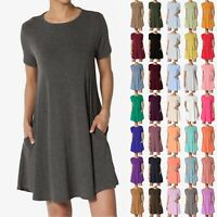 TheMogan S~3X Basic Crew Neck Short Sleeve Pocket Trapeze Short Tunic Mini Dress