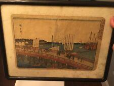 Vintage Japanese Painting Framed Ships Bridge Seaside Town Art