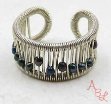 Sterling Silver Vintage 925 Wrap Beaded Pearl Ring Sz 8 (3.8g) - 572887