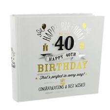 Signography Boxed White Black & Gold Photo Album - 40th Birthday