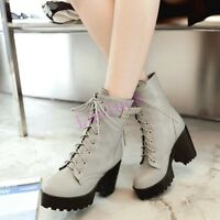 Fashion Womens Platform Lace Up Punk Bootie Chunky High Heels Shoes Ankle Boots