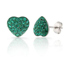 Elegant & Shiny Green Hearts CZ Crystal Stainless Steel Small Stud Earrings E464