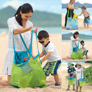 Extra Large Mesh Beach Bag with Zipper & Pockets -  Canvas Bottom Tote