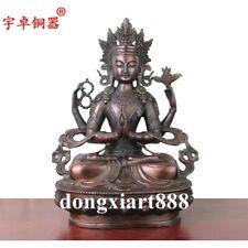 Tibet Bronze Four arms Avalokitesvara Guanyin Bodhisattva Guanyin Buddha Statue