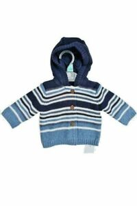 BNWT Mothercare Boys Lined Hooded Cardigan NB-18 Months - Free Postage