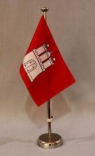 """Tischflagge """"Hamburg"""" 25x15 cm mit verchromten 44 cm Ständer HH"""