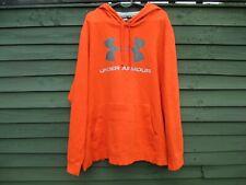 Mens UNDER ARMOUR - Orange & Silver Logo - Hoodie Jumper Hooded Top - UK SIZE XL