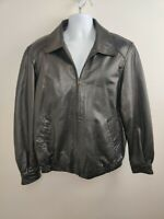 Men's Emporio Collezione Genuine Leather Motorcycle Bomber Zip-Up Jacket Black L