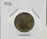 1906 LIBERTY HEAD V NICKEL WITH CENTS Average Uncirculated Nice Coin