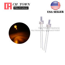 100pcs 2mm LED Diodes Water Clear Yellow Light Flat Top Transparent USA