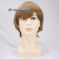 Cosplay wig men Short Brown Wig + Free wig cap