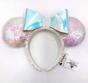 Disney Parks Iridescent Glitter Rare Minnie Ears White Bow Sequins Headband