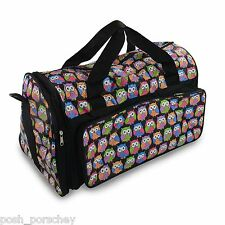 Black Ladies Girls Owl Print Canvas Weekend Holdall School Cabin Gym Travel Bag