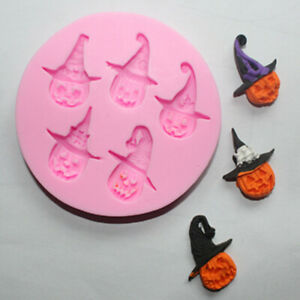 Halloween Pumpkin Silicone Fondant Mould Cake Decor Craft Topper Baking Hat Mold