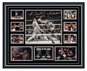 MUHAMMAD ALI & MIKE TYSON SIGNED PHOTO POSTER LIMITED EDITION FRAMED MEMORABILIA