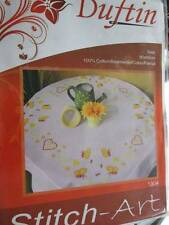 Duftin Saar Stamped 80x80cm Tablecloth-Butterflies & Hearts Pattern- 100% Co