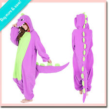 NEW! PURPLE DINOSAUR SAZAC KIGURUMI Adult Costume Animal Fleece Pajamas PJ Jammy