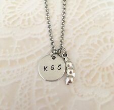 Peas In A Pod Friends Personalized Initial Hand Stamped Necklace