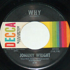 45 RPM Johnny Wright Ole Honky Tonk, Why DECCA Country Vinyl Record 32133 VG+