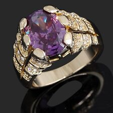 Jewelry Size 12 Gorgeous Amethyst 18K Gold Filled Mens Wedding Anniversary Ring
