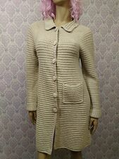 Whistles London Heavy Crochet Coat Womens Size 2 Beige Cotton Duster Sweater