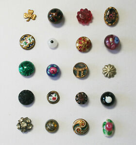 Antique Victorian Diminutive Buttons~Glass~Enamel~Brass Cricket Cage~All < 3/8""