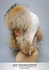 RACCOON Fur Hat White Bomber Ushanka Ski Winter Schapka Pelzmütze Fliegermütze