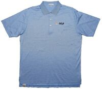 PETER MILLAR NBC Golf Channel Short Sleeve Cotton Polo Shirt Blue Striped XL