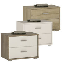 Crescita 2 Drawer Low Chest of Drawers Bedside Cabinet in Oak, White, Canyon New