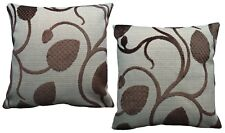 Pack of 2 Ornate Leaf Pattern Woven Design Cushion Covers Beige/ Brown