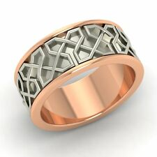 Men's wedding Band / Ring In 7 mm Two Tone Solid 10k Rose Gold- Free Engrave