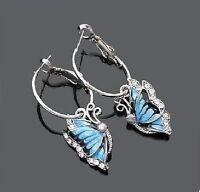 Blaue Schmetterlinge Ohrringe Creolen Strass Ohrhänger Schmetterling blau