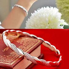 Womens New Fashion Silver Plated Cuff Twisted Charm Wrist Bracelet Bangle V