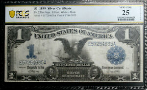 1899 $1 Silver Certificate Note Black Eagle FR#235M PCGS 25 VF RFID SECURE CHIP
