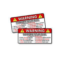 """Oldsmobile Cutlass Rules Warning Safety Instruction Funny Sticker Decal 2 PK 5"""""""