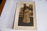 Rare Antique Vintage RPPC Real Photo Postcard Beautiful Woman in Dress w Hat