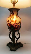 Very Rare DAUM NANCY French Cameo Glass Lamp w/ Griffin Mounts  c. 1915  antique